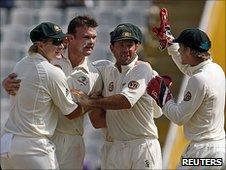 Doug Bollinger celebrates wicket of Sachin Tendulkar