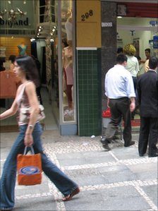 Shopping street in Sao Paulo city centre
