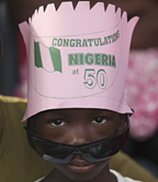 A child at a party to mark Nigeria's 50th anniversary of independence