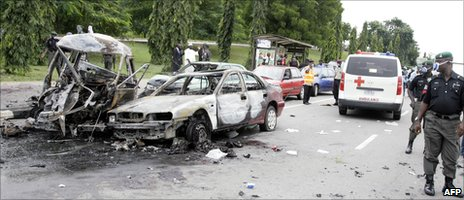 Scene of the car bombings in Abuja on the day of Nigeria's independence celebrations