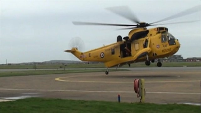 Prince William's RAF helicopter landing