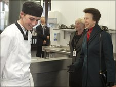 The Princess Royal met catering students during her tour of the campus