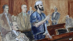 A court drawing of Shahzad
