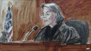 US District Judge Miriam Goldman Cedarbaum during Shahzad's sentencing