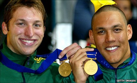 Ian Thorpe (left) with Geoff Huegill