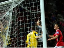 Wrexham players were furious as this was not ruled to have crossed the line