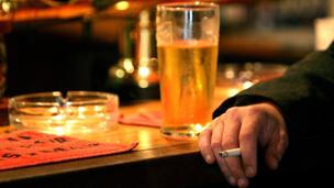 Smoker in pub
