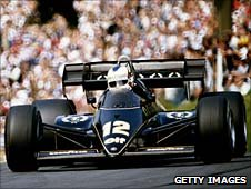 Nigel Mansell driving for Lotus in 1984