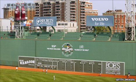 "The ""Green Monster"" left-field fence at Fenway Park, Boston"