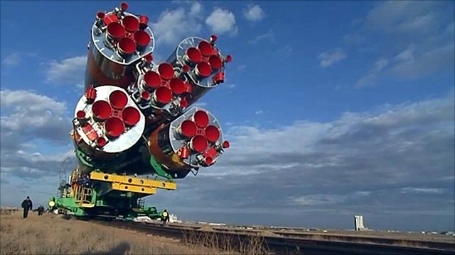 Soyuz rocket being rolled out to launch pad
