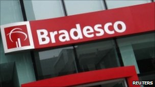 Bradesco bank entrance in Sao Paulo