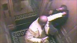 "Saud Abdulaziz bin Nasser al Saud (L) with his servant Bandar Abdulaziz in an elevator in London""s Landmark hotel, captured on CCTV"