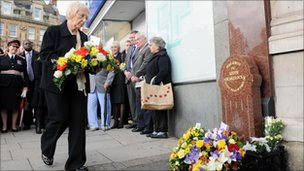 Pc Blakelock's widow lays a wreath at the memorial