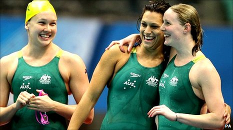Australian swimmers Kylie Palmer, Blair Evans and Bronte Barratt