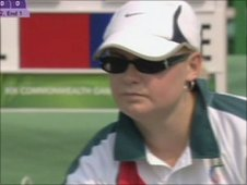 Guernsey bowler Lucy Beere at the Commonwealth Games in Delhi