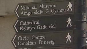 Bilingual sign for pedestrians