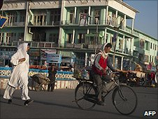 Afghan commuters on the streets of Mazar-e-Sharif