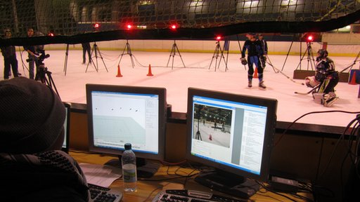 Ice rink and computer screens