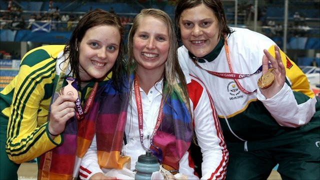 Medalists Ellie Cole of Australia (Bronze), Stephanie Millward of England (Silver) and Natalie Du Toit of South Africa (Gold)