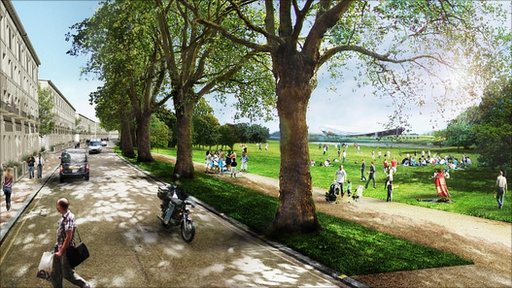 Artist's impression of the future north park crescent view at the Olympic Park