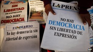"Bolivian newspapers with the slogan ""there is no democracy without freedom of expression""."