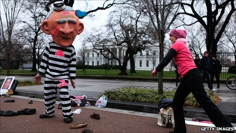 Code Pink protest outside the White House