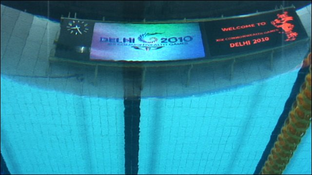 Scorebaord as seen from underwater camera in Delhi