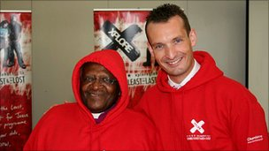 Mark Russell and his friend, Archbishop Tutu