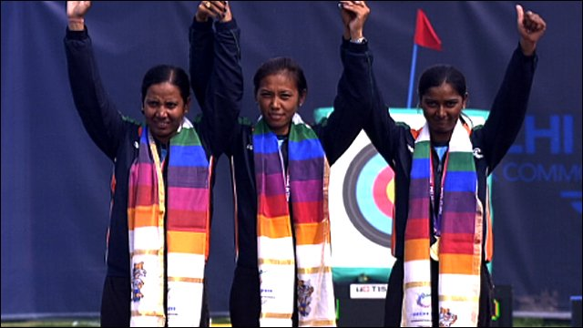 India's winning archery recurve team