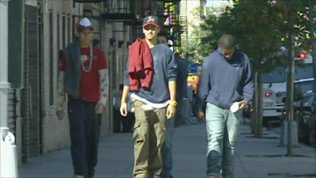 Men walking down the street in New York