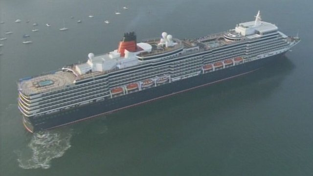 The new Queen Elizabeth liner arrives in Southampton