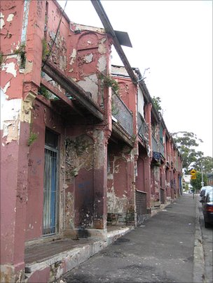 Dilapidated houses on the Redfern estate