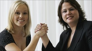 Ruth Badger, right, and Michelle Dewberry in The Apprentice 2006