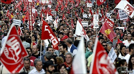 Protest during national strike over cuts in Spain