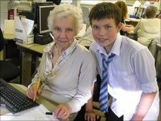 Cameron, 13, with his grandmother Betty, 82, at Gourock High School, Inverclyde