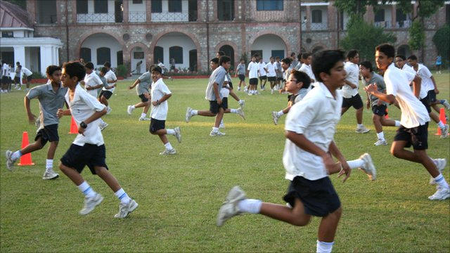 Pupils training at the Doon School