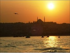 The view from the Galata Bridge at sunset.