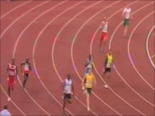 Tom Druce (far right) in the 400m at Delhi 2010 Commonwealth Games