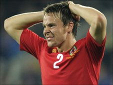 Wales defender Chris Gunter shows his frustration against Bulgaria