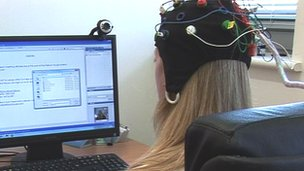 Person wearing an EEG cap