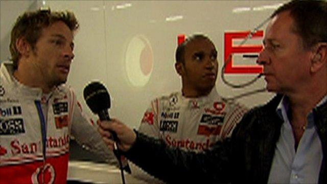 Jenson Button, Lewis Hamilton and Martin Brundle