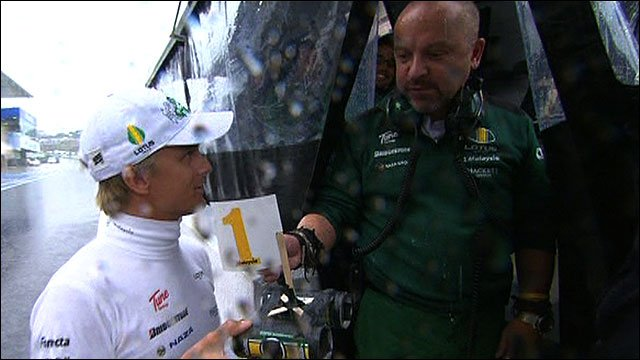 Heikki Kovalainen shows Mike Gascoyne his homemade boat
