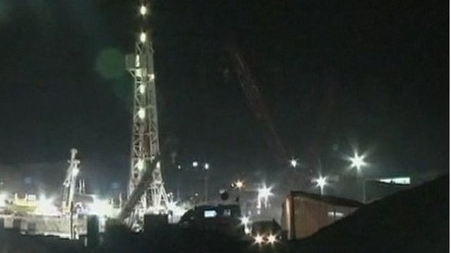Drilling rig over mine shaft in Chile