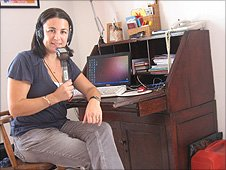 Correspondent Chloe Arnold at her desk