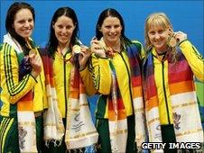 The winning Australian relay swimming team