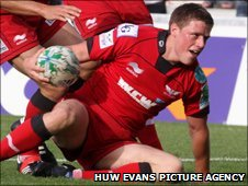 Rhys Priestland scored two of Scarlets' four tries against Perpignan