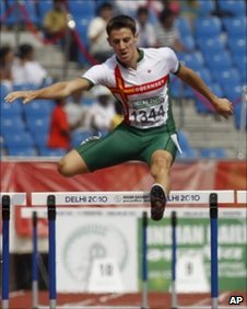 Dale Garland competing at the Delhi 2010 Commonwealth Games