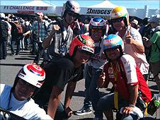 Suzuka fans sport some natty replica helmets