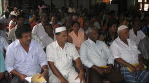 Muslims gathered to give evidence before the presidential panel in Batticaloa, Sri Lanka