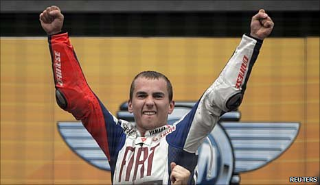 Jorge Lorenzo celebrates his world title triumph